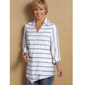Soft Surroundings Washed Tencel Tunic 1X Striped